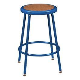 "Adjustable-Height Blue Metal Lab Stool (24 1/2"" - 32 1/2\"" H)"
