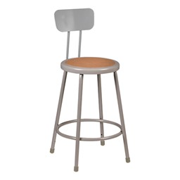 """Metal Lab Stool w/ Backrest - Fixed Height (24"""" H)"""