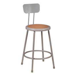 "Metal Lab Stool w/ Backrest - Fixed Height (24"" H)"