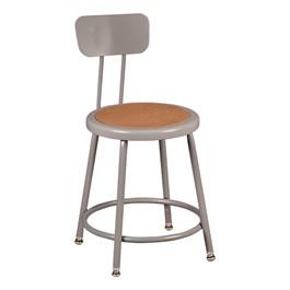 "Metal Lab Stool w/ Backrest - Adjustable Height (18 1/2\"" - 26 1/2\""H)"