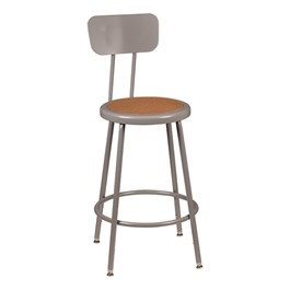 "Metal Lab Stool w/ Backrest - Adjustable Height (24 1/2"" - 32 1/2\""H)"