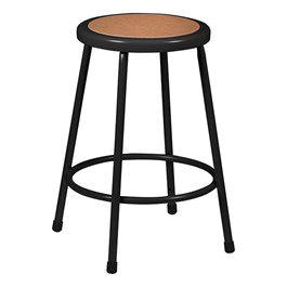 """Metal Lab Stool Black - Fixed Height (24\"""" H)"""