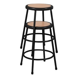 """Metal Lab Stool Black - Fixed Height (24"""" H)"""