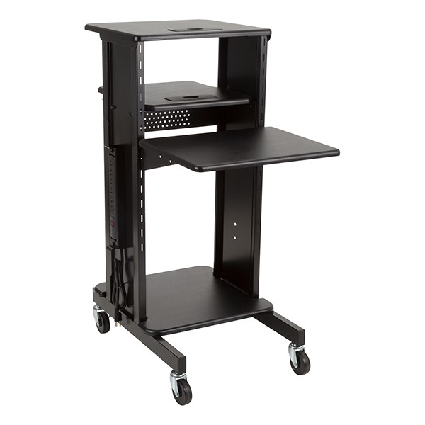 Laptop Caddy Presentation Cart - Black shelf color