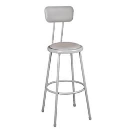 "Padded Metal Lab Stool w/ Backrest (30\"" H)"