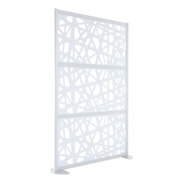 "Modern Privacy Web Panel w/ White Infill Panels & White Frame (4\' 4"" W x 6\' 6\"" H) w/ Stationary Base"