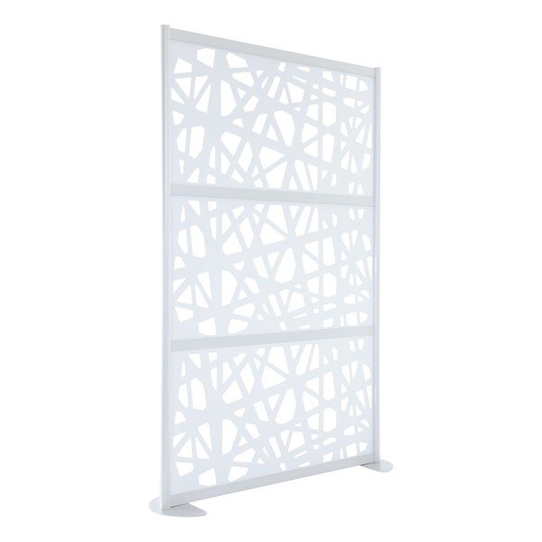 "Modern Privacy Web Panel w/ White Infill Panels & White Frame (4' 4"" W x 6' 6"" H) w/ Stationary Base"