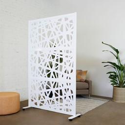 "Modern Privacy Web Panel w/ White Infill Panels & White Frame (4' 4"" W x 6' 6"" H)"