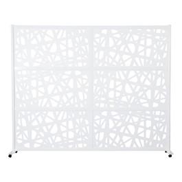 """Modern Privacy Web Panel w/ White Infill Panels & White Frame (8\' 4\"""" W x 6\' 6\"""" H) w/ Mobile Base"""