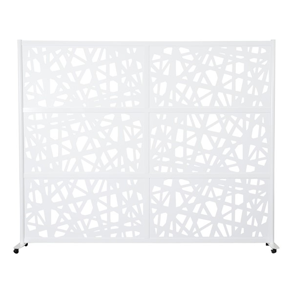 """Modern Privacy Web Panel w/ White Infill Panels & White Frame (8' 4"""" W x 6' 6"""" H) w/ Mobile Base"""