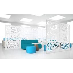 "Modern Privacy Web Panel w/ White Infill Panels & White Frame (8' 4"" W x 6' 6"" H)"