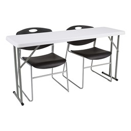 Blow-Molded Plastic Folding Training Table w/ Heavy-Duty Plastic Stacking Chairs