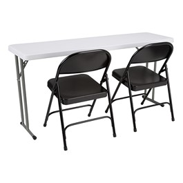 Blow-Molded Plastic Folding Training Table w/ Heavy-Duty Steel Folding Chairs