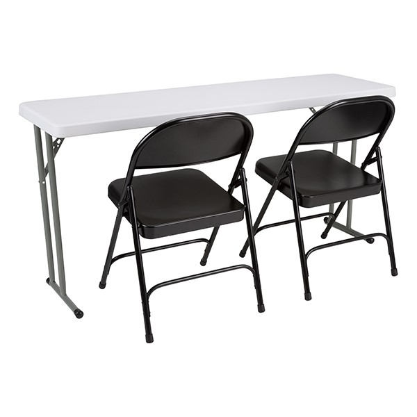 Blow-Molded Plastic Folding Training Table w/ Heavy-Duty Steel Folding Chairs