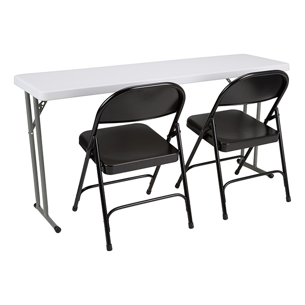 Blow Molded Plastic Folding Training Table W/ Heavy Duty Steel Folding  Chairs At School Outfitters