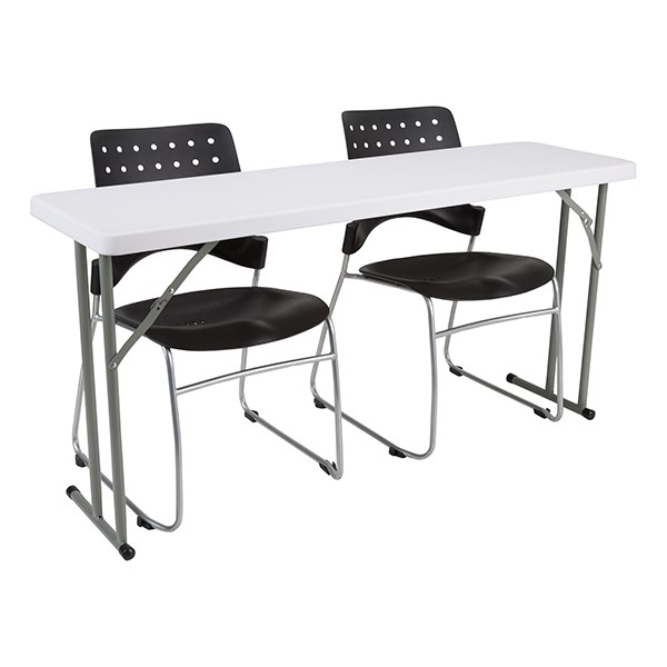 Blow-Molded Plastic Folding Training Table w/ Ballard Plastic Stack Chairs