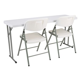 Blow-Molded Plastic Folding Training Table w/ Blow-Molded Folding Chair