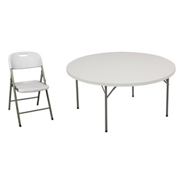 Round Blow-Molded Plastic Folding Table w/ Eight Chairs - Shown w/ one chair