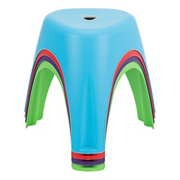 Assorted Color Indoor/Outdoor Plastic Stack Stools - Stacked