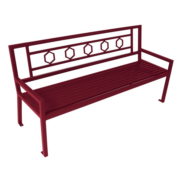 Evanston Series Bench w/ Back - Burgundy