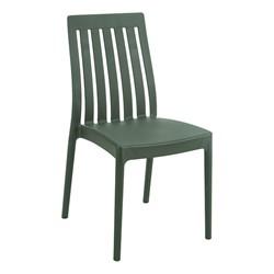 Heavy Duty Plastic Indoor Outdoor Stackable Café Chair Dark Green