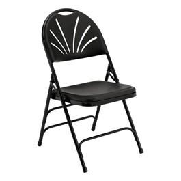 1100 Series Fan-Back Polyfold Folding Chair - Black w/ Black Frame