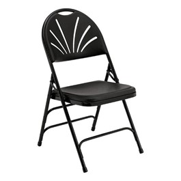 1100 Series Fan-Back Polyfold Folding Chair - Black w/ Black Frame