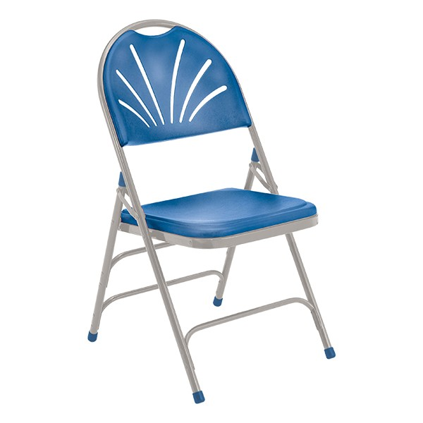 1100 Series Fan-Back Polyfold Folding Chair - Blue w/ Gray Frame