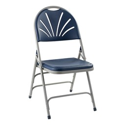 1100 Series Fan-Back Polyfold Folding Chair - Navy w/ Gray Frame