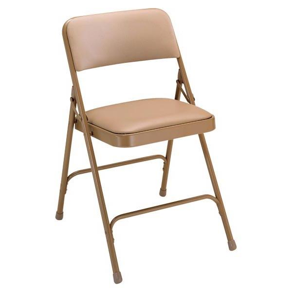 1200 Series Vinyl Upholstered Folding Chair - Beige