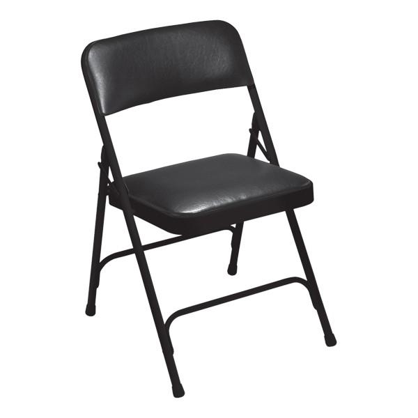 1200 Series Vinyl Upholstered Folding Chair - Black