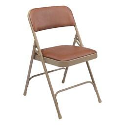 1200 Series Vinyl Upholstered Folding Chair - Brown vinyl & beige frame