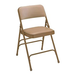 1300 Series Vinyl-Upholstered Premium Folding Chair - Beige