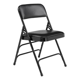 1300 Series Vinyl-Upholstered Premium Folding Chair - Black
