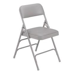 1300 Series Vinyl-Upholstered Premium Folding Chair - Gray