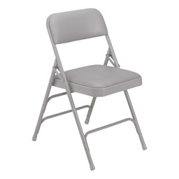 1300 Series Vinyl-Upholstered Premium Folding Chair - Gray