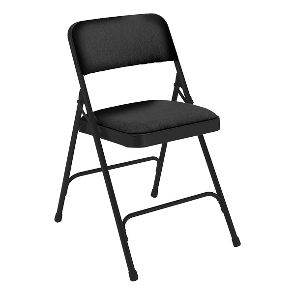 2200 Series Fabric Upholstered Folding Chair - Black fabric & frame