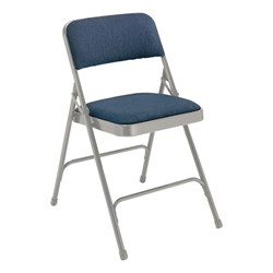 2200 Series Fabric Upholstered Folding Chair - Blue fabric & gray frame