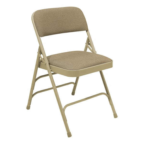 2300 Series Fabric-Upholstered Premium Folding Chair - Beige fabric w/ beige frame