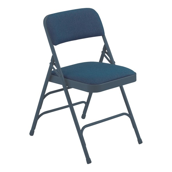 2300 Series Fabric-Upholstered Premium Folding Chair - Blue fabric w/ blue frame
