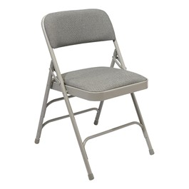 2300 Series Fabric-Upholstered Premium Folding Chair - Gray fabric w/ gray frame