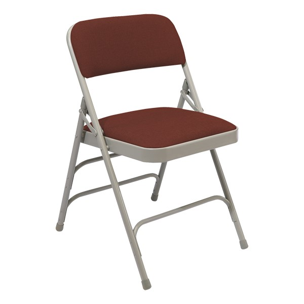 2300 Series Fabric-Upholstered Premium Folding Chair - Cabernet fabric w/ gray frame