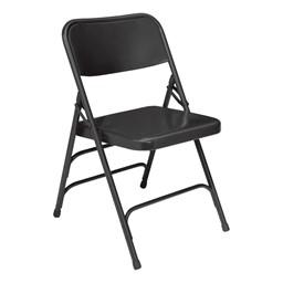 300 Series Triple-Brace Steel Folding Chair - Black