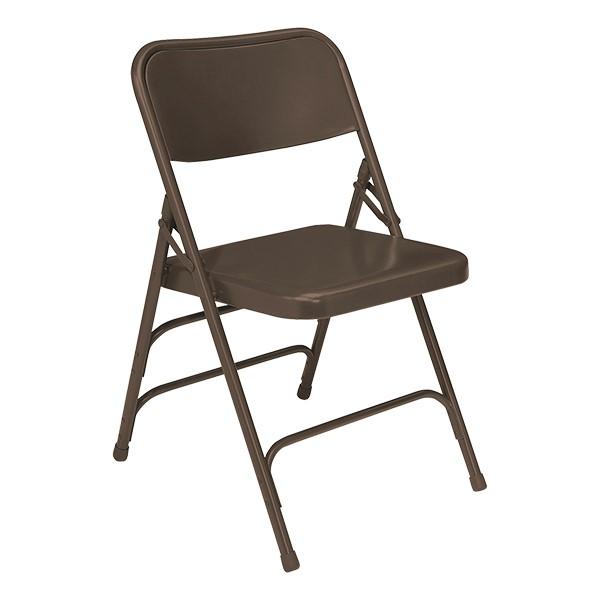 300 Series Triple-Brace Steel Folding Chair - Brown