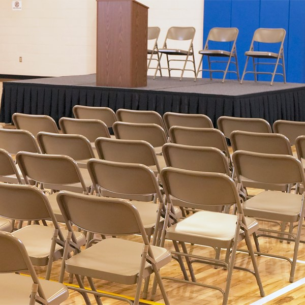 300 Series Triple-Brace Steel Folding Chair - Multiple units shown