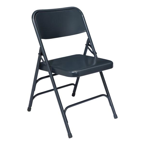 300 Series Triple-Brace Steel Folding Chair - Dark Blue