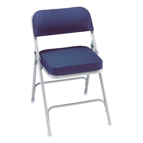 3200 Series Upholstered Folding Chair - Navy fabric w/ gray frame