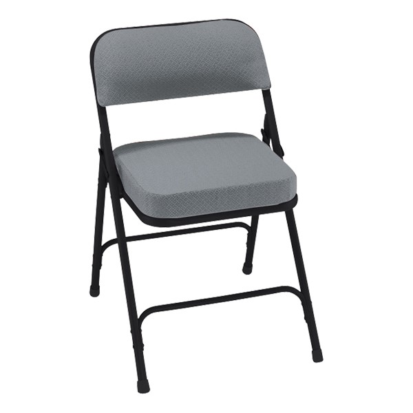3200 Series Upholstered Folding Chair - Charcoal fabric w/ black frame