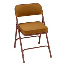 3200 Series Upholstered Folding Chair - Gold fabric w/ brown frame