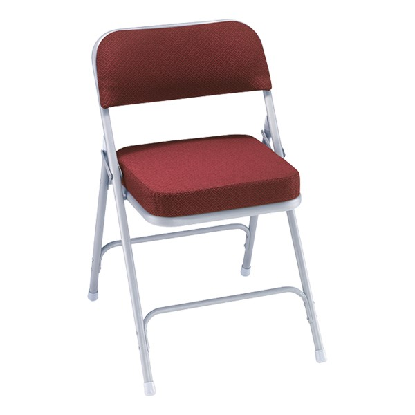 3200 Series Upholstered Folding Chair - Burgundy fabric w/ gray frame